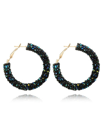 Glitter Black Green Earrings - Boutique by JessyJess
