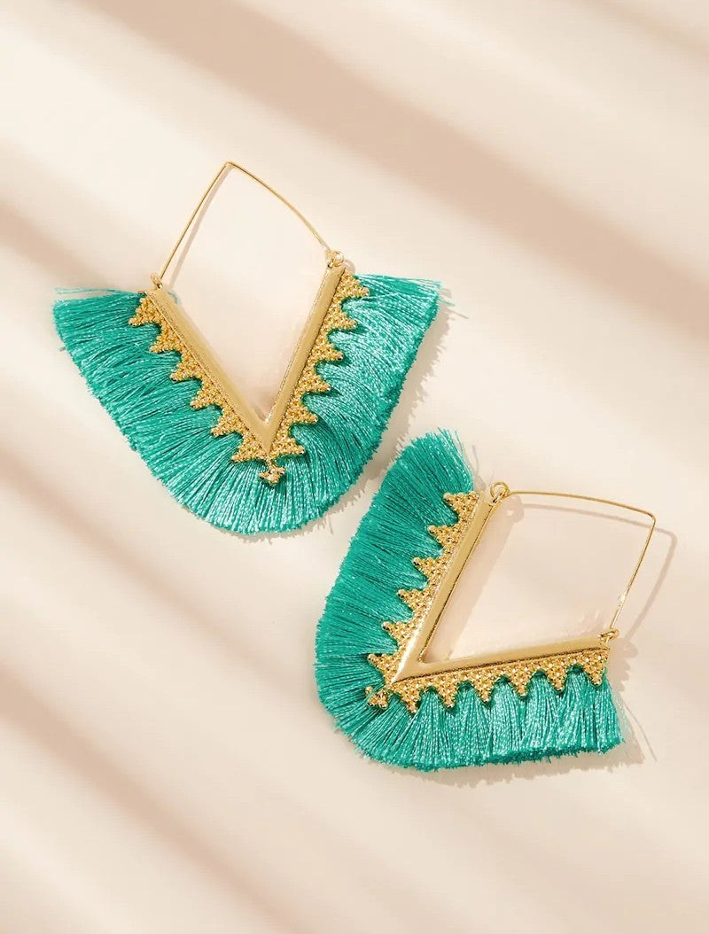 Turquoise Gold Earrings - Boutique by JessyJess