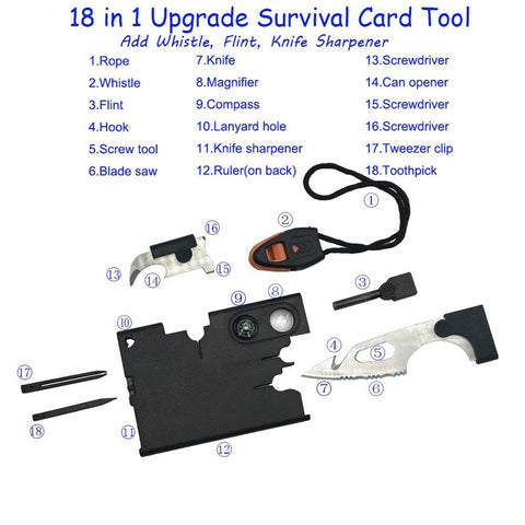 8 in 1 Card Camping  Outdoor Multifunctional Survival Tool