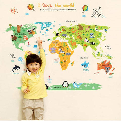 World Map With Animals Decal
