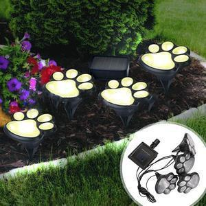 4 PCS Solar-Powered Paw Print LED Lights Penguin Delivery