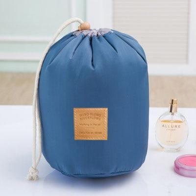 Barrel Shaped Cosmetics Bag Cosmetic Bags & Cases HKOTIIK Store Blue