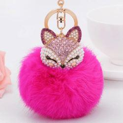 Crystal Fox Fluffy Fur Ball Keychain Keychain Penguin Delivery