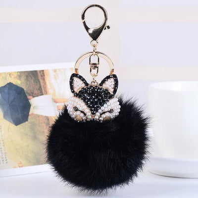 Crystal Fox Fluffy Fur Ball Keychain Keychain Penguin Delivery Black