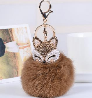 Crystal Fox Fluffy Fur Ball Keychain Keychain Penguin Delivery Brown