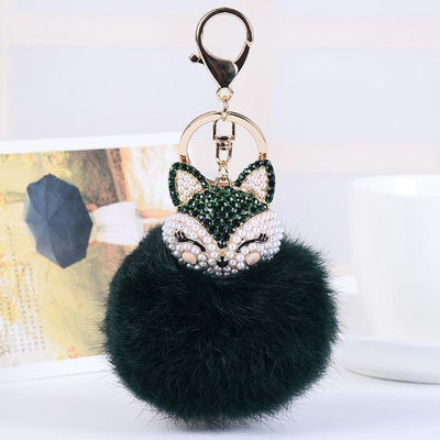 Crystal Fox Fluffy Fur Ball Keychain Keychain Penguin Delivery Darkgreen
