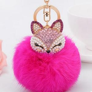 Crystal Fox Fluffy Fur Ball Keychain Keychain Penguin Delivery DeepPink