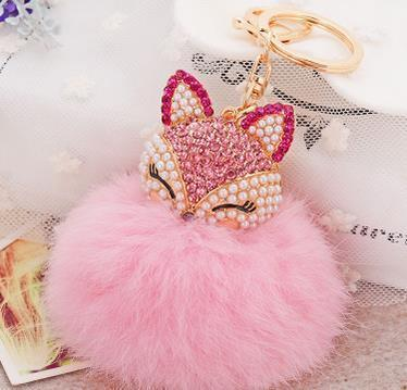 Crystal Fox Fluffy Fur Ball Keychain Keychain Penguin Delivery Pink