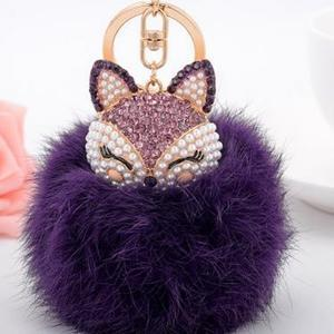 Crystal Fox Fluffy Fur Ball Keychain Keychain Penguin Delivery Purple