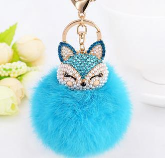 Crystal Fox Fluffy Fur Ball Keychain Keychain Penguin Delivery Skyblue