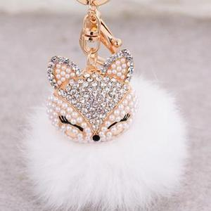 Crystal Fox Fluffy Fur Ball Keychain Keychain Penguin Delivery White