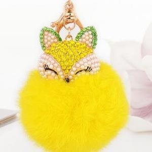 Crystal Fox Fluffy Fur Ball Keychain Keychain Penguin Delivery Yellow