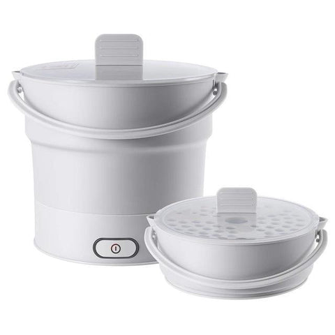 Folding Electric Hot Pot Cooker, Kettle, Food Heater, With Steaming Tray, Dual Voltage (110V/220V) Penguin Delivery