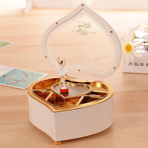 Heart Shaped Dancing Ballerina Jewelry Music Box Penguin Delivery