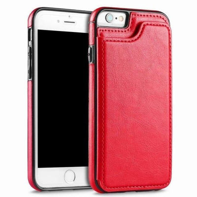 Leather Case for Iphone with Card Holder & Stand Function Flip Cases YISHANGOU OfficialFlagship Store Red For iPhone 5 5S SE