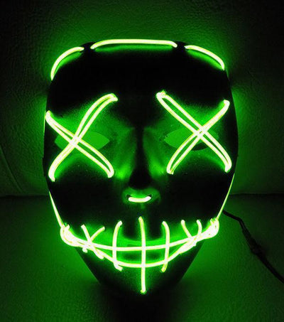 LED Purge Halloween Mask Penguin Delivery Green