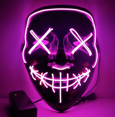 LED Purge Halloween Mask Penguin Delivery Pink
