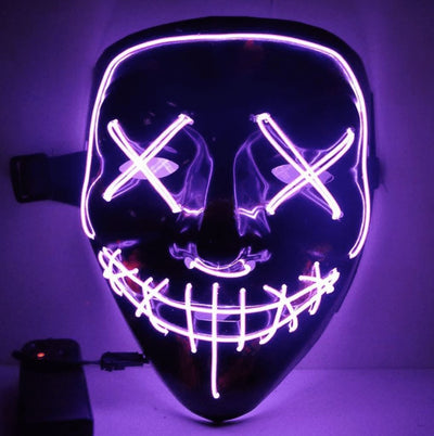 LED Purge Halloween Mask Penguin Delivery Purple