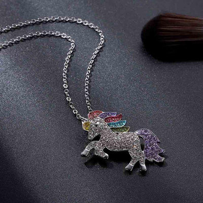 Rainbow Crystal Unicorn Set Charm Bracelets V-Blinging Jewellery Store Necklace