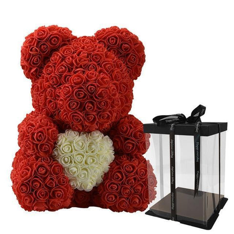 Rose Teddy Bear Artificial & Dried Flowers WR CoinBanknotes Store DarkRed