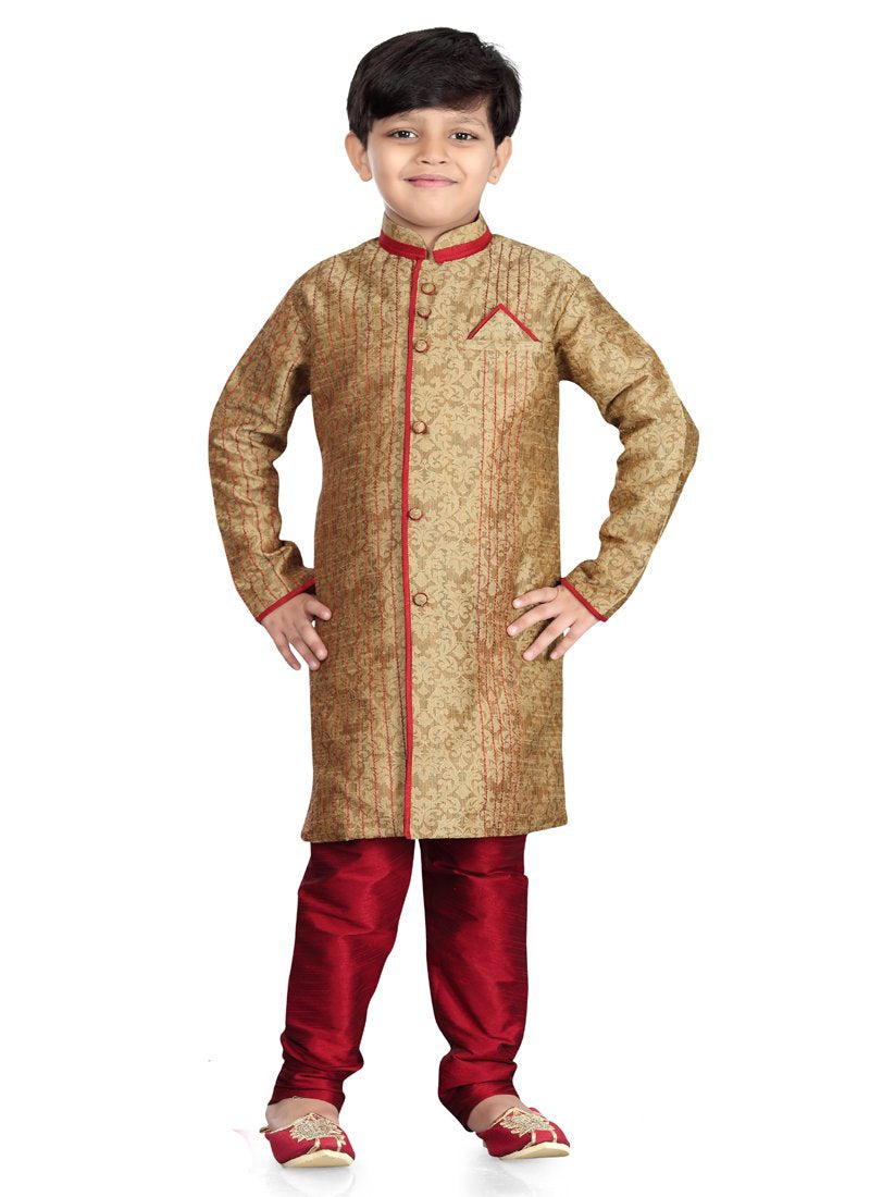 Party Wear Boys Kurta Pajama in Chikoo Color  - KB000306