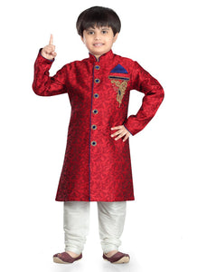 Party Wear Boys Kurta Pajama in Maroon Color  - KB000309