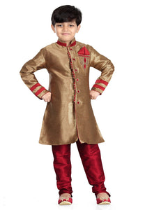 Party Wear Boys Kurta Pajama in Chikoo Color  - KB000307