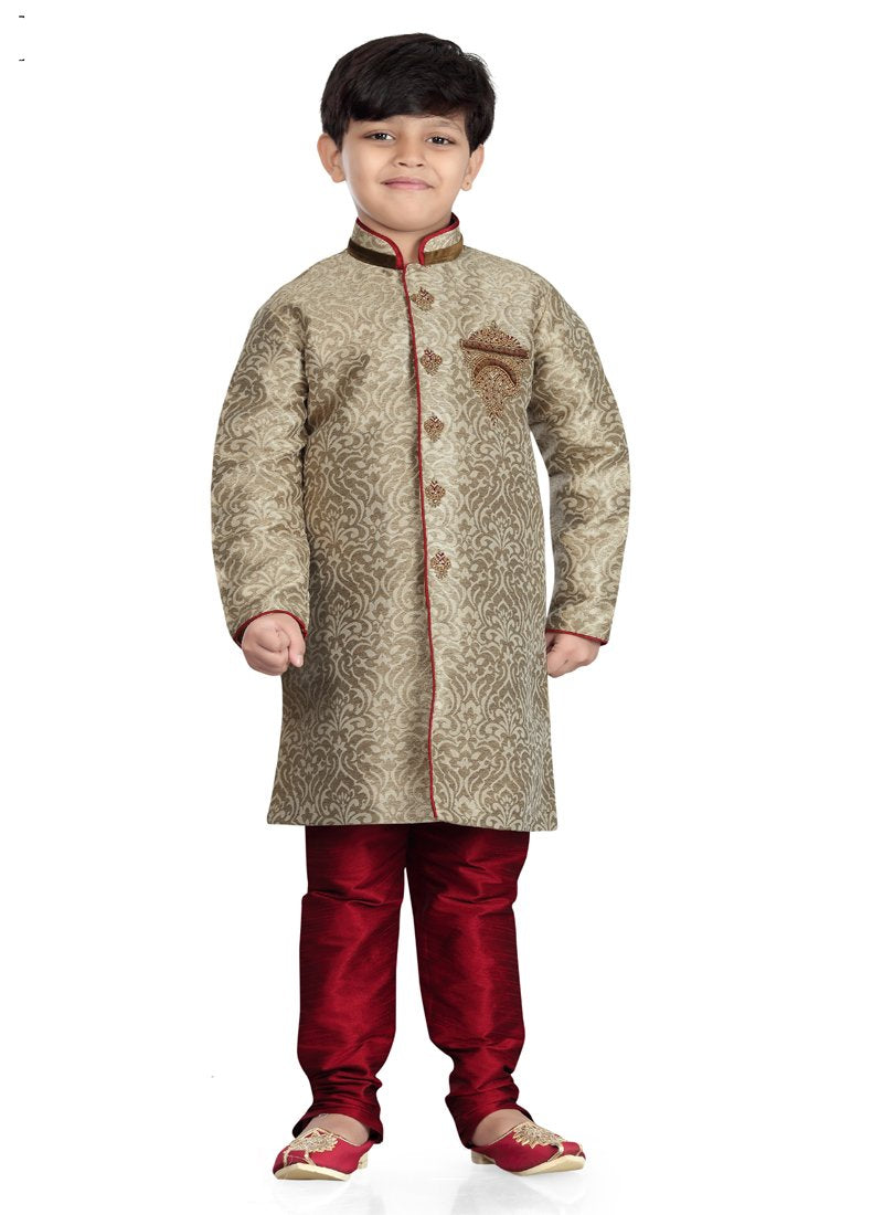 Party Wear Boys Kurta Pajama in Beige Color  - KB000311