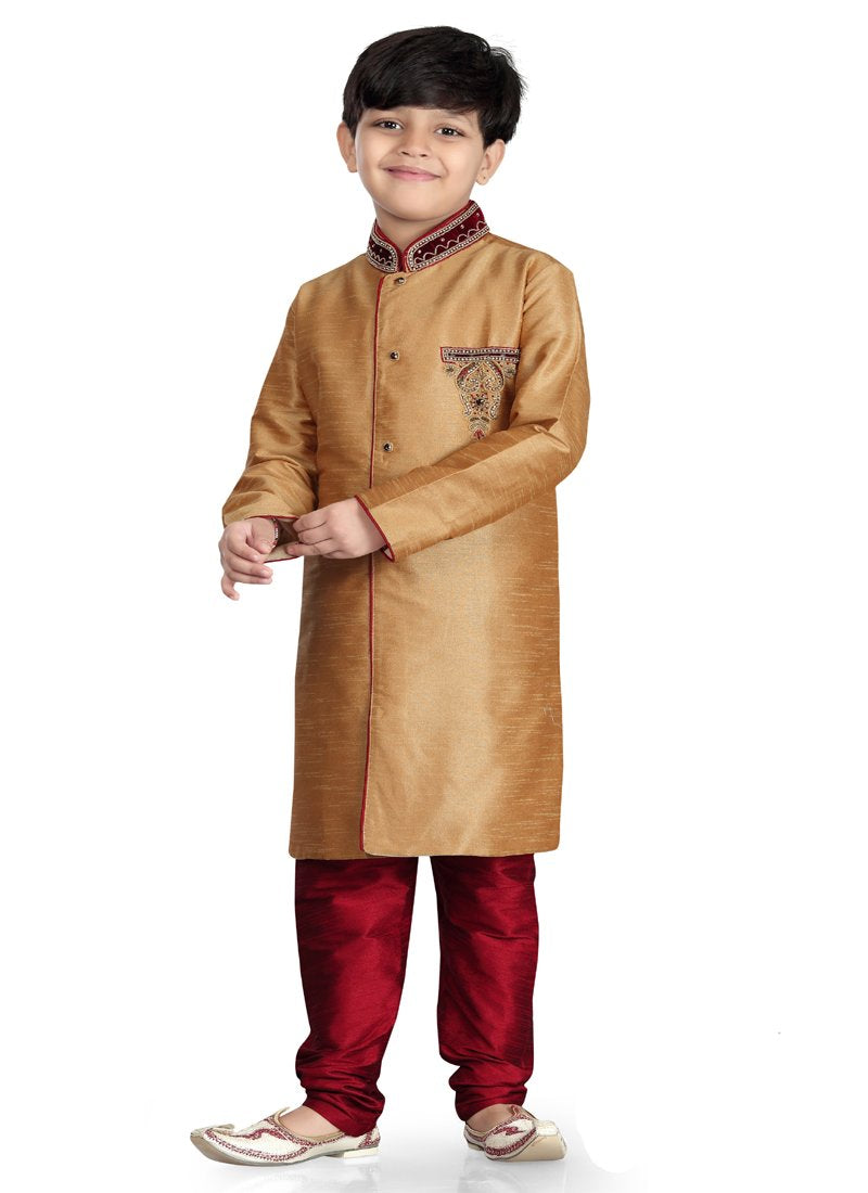 Party Wear Boys Kurta Pajama in Chikoo Color  - KB000301