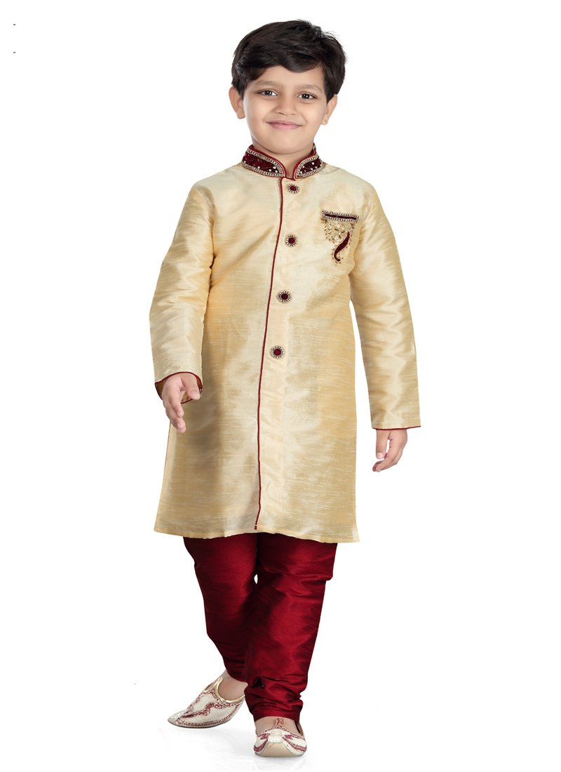 Party Wear Boys Kurta Pajama in Gold Color  - KB000302