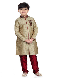 Party Wear Boys Kurta Pajama in Beige Color  - KB000313