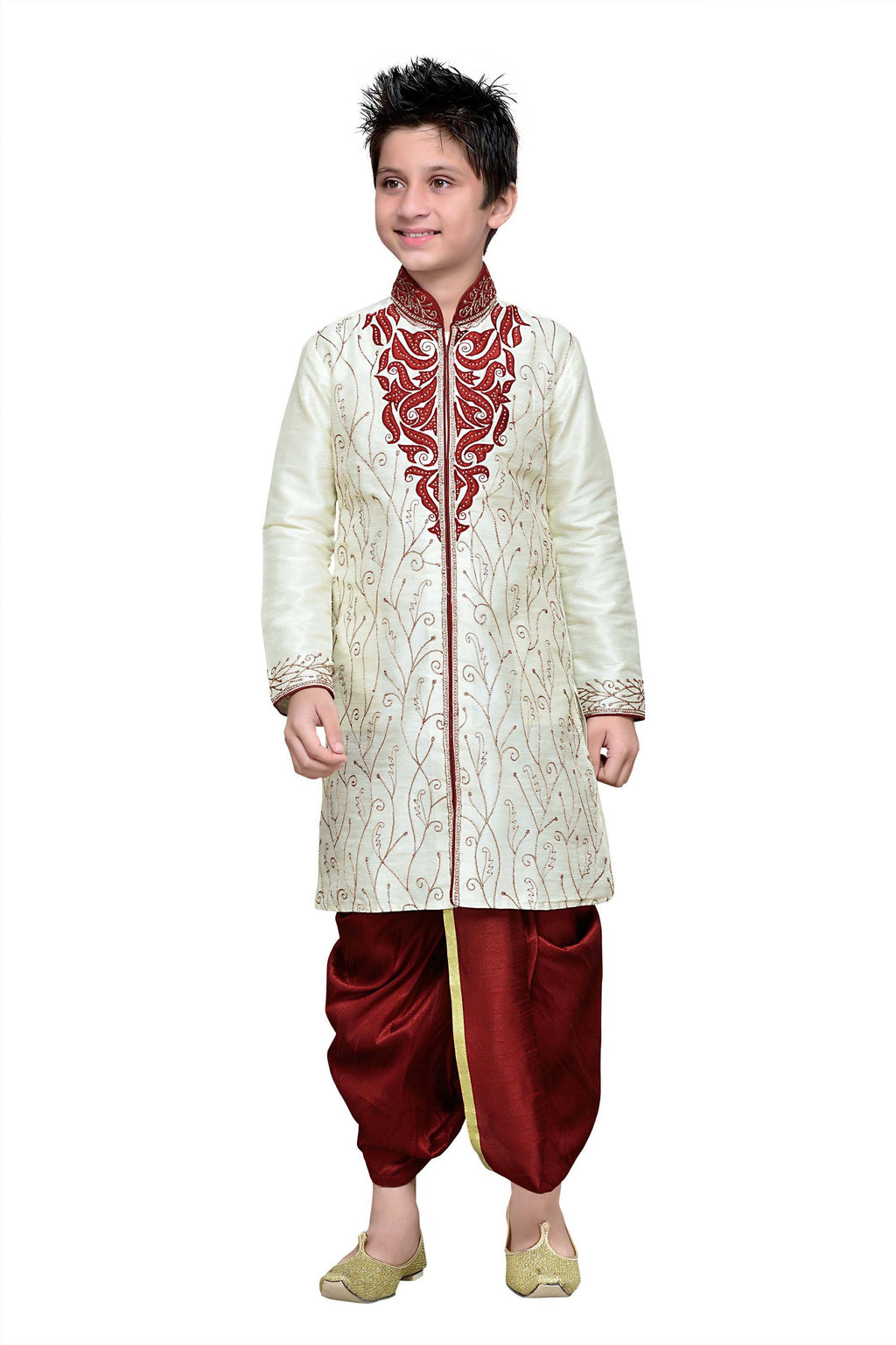 Party Wear Boys Kurta Pajama in Off White Color  - KB000233
