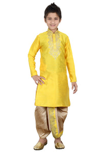 Party Wear Boys Kurta Pajama in Yellow Color  - KB000263