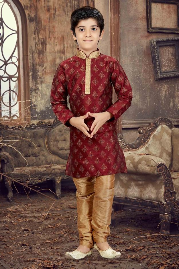 Party Wear Boys Kurta Pajama in Maroon Color  - KB000291