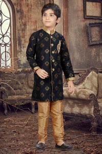 Party Wear Boys Kurta Pajama in Black Color  - KB000292