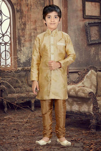 Party Wear Boys Kurta Pajama in Gold Color  - KB000293