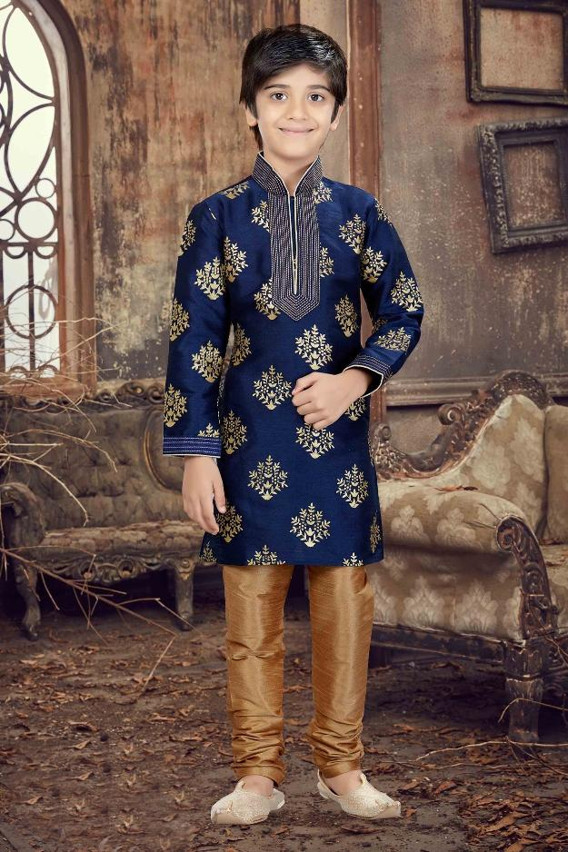 Party Wear Boys Kurta Pajama in Navy Blue Color  - KB000294