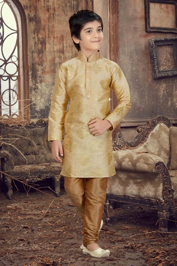 Party Wear Boys Kurta Pajama in Gold Color  - KB000295