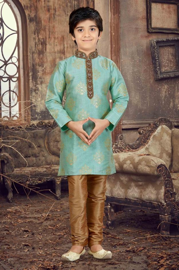 Party Wear Boys Kurta Pajama in Pista Green Color  - KB000296