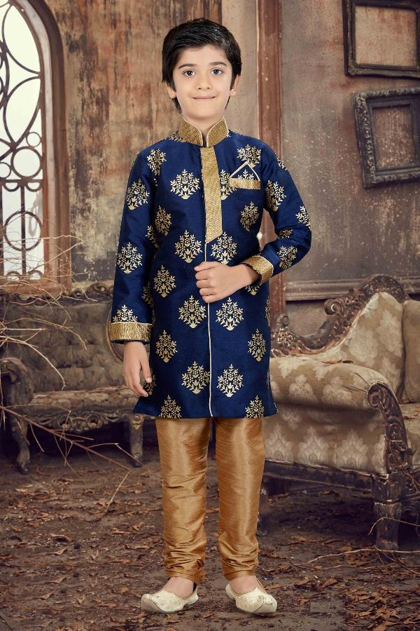 Party Wear Boys Kurta Pajama in Navy Blue Color  - KB000298
