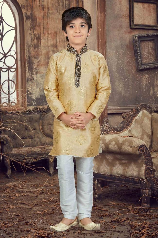 Party Wear Boys Kurta Pajama in Gold Color  - KB000299