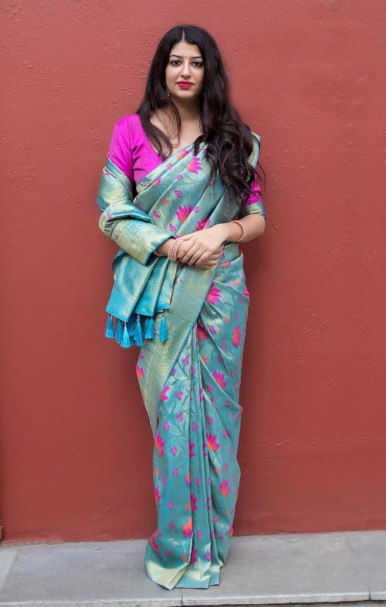 South Silk Designer Saree in Sky Blue color  SR000573
