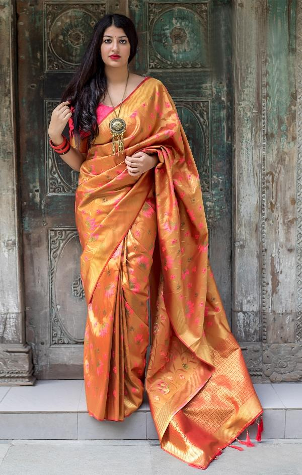 South Silk Designer Saree in Orange color  SR000574