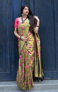 South Silk Designer Saree in Golden color  SR000575