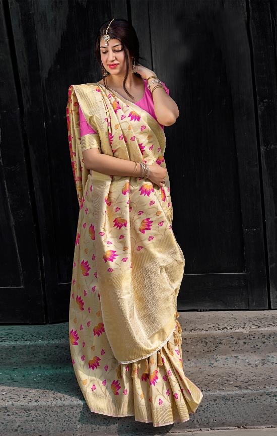 South Silk Designer Saree in Beige color  SR000576