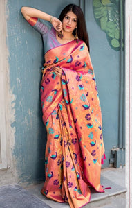South Silk Designer Saree in Orange color  SR000577