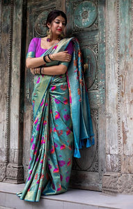 South Silk Designer Saree in Blue color  SR000579