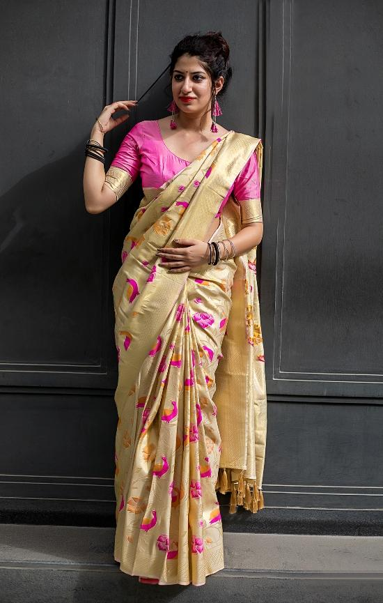 South Silk Designer Saree in Beige color  SR000580