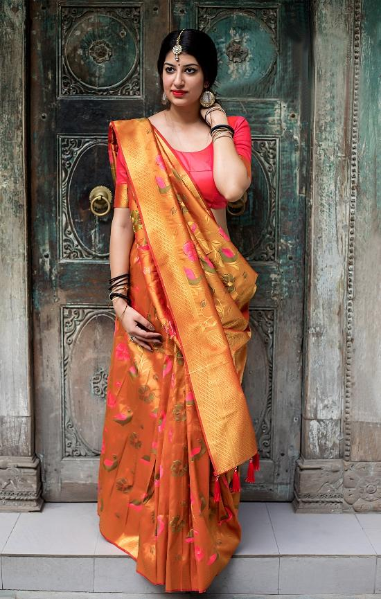South Silk Designer Saree in Orange color  SR000581