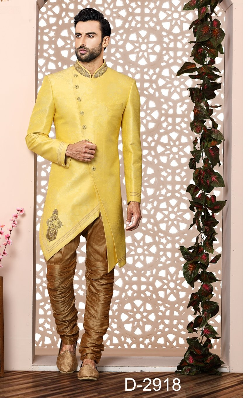 Party Wear Yellow Color Indo Western  - MWFU00090